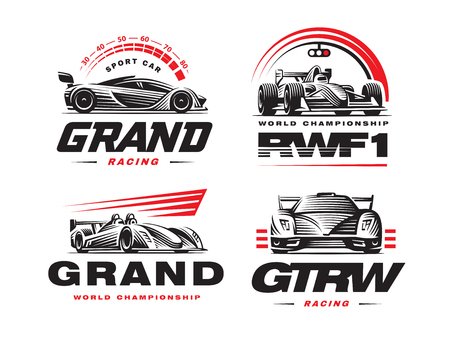 Sport cars logo set illustration on white background. Ilustrace