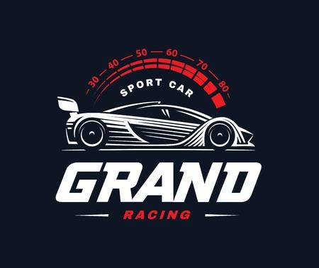 Sport car logo on dark background. Racing