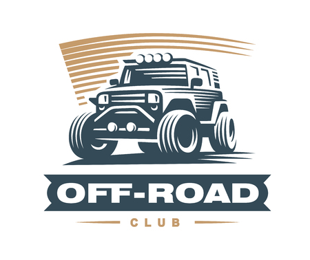 Off-road car illustration, emblem on white background