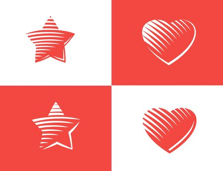 gravure: Star and heart Icon vector. gravure style Illustration