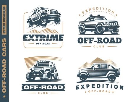 Set of four off-road suv car monochrome labels, emblems, badges or isolated on white background. Off-roading trip emblems, 4x4 extreme club emblems
