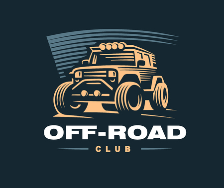 Off road car illustration on dark background.