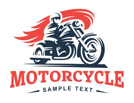 Biker, fire, motorcycle, emblem and label on white background