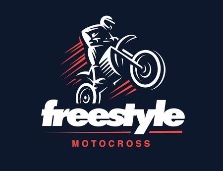 freestyle: Motorcycle illustration on white background, motocross freestyle