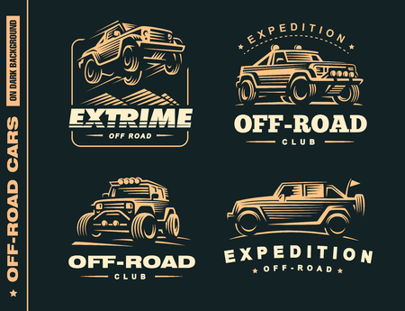 Set of four off-road suv car labels, 4x4 extreme club emblems Vectores