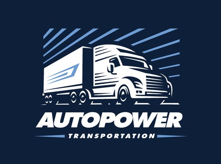 Truck illustration on dark background. Emblem design