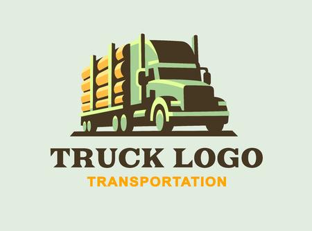 commercial tree service: Truck illustration on light background, transportation of wood