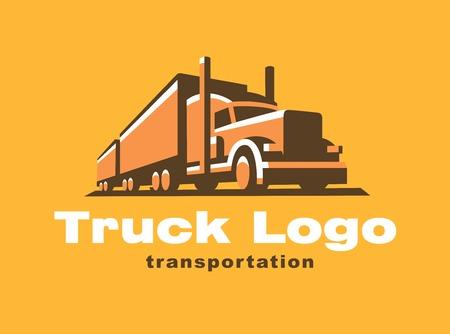Truck  illustration on yellow background. Emblem design Vectores