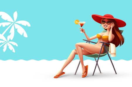 lounge chair: Illustration girl in lounge chair with a cocktail