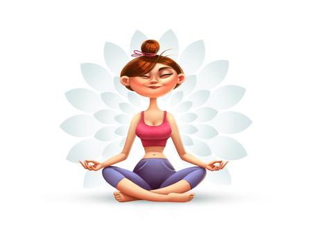 Yoga, meditatie en ontspanning, Illustratie van het beeldverhaal met een Happy Girl