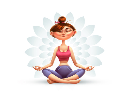 Yoga, Meditation and Relaxation, Cartoon Illustration with a Happy Girl Фото со стока