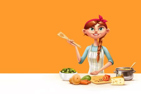 stereotypical: illustration of housewife in the kitchen cooking