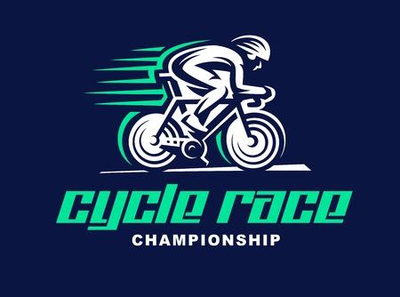 Course cycliste Vector illustration, conception emblème.