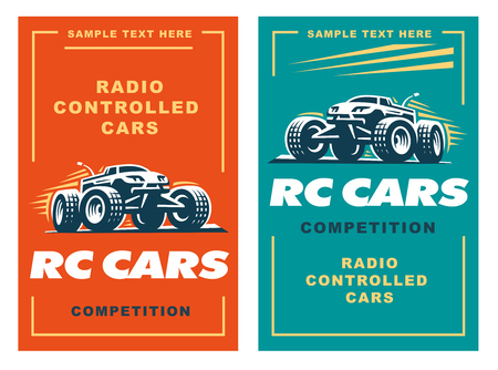 controlled: Radio controlled machine, RC, radio controlled toys design elements for emblems, icon, labels