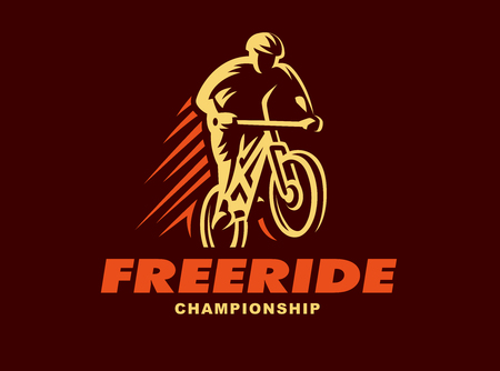 freeride: Vintage and modern biking badges and labels. biking silhouette, jump, extreme