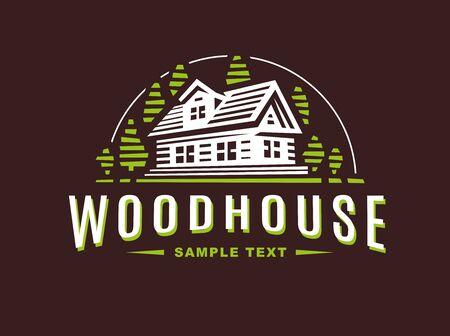 wooden house on a dark background Vector Illustration