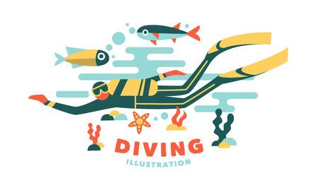 Vector illustration underwater diver surrounded fish on white background Illustration
