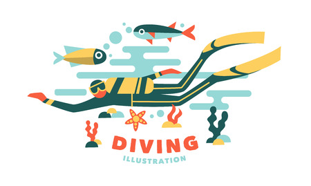 under pressure: Vector illustration underwater diver surrounded fish on white background Illustration