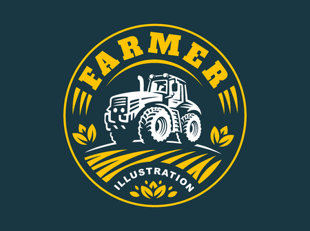 Tractor illustration on dark background, emblem design