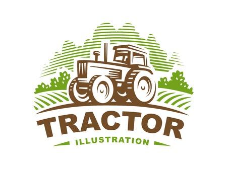 Tractor illustration on white background, emblem design