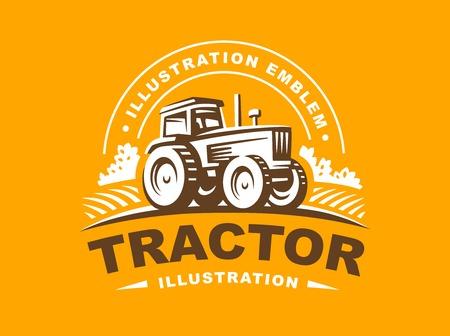 Tractor illustration on orange background, emblem design Vectores