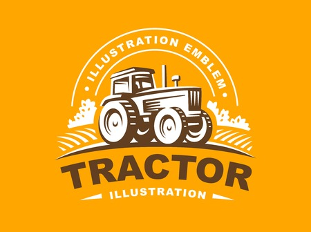 Tractor illustration on orange background, emblem design Иллюстрация