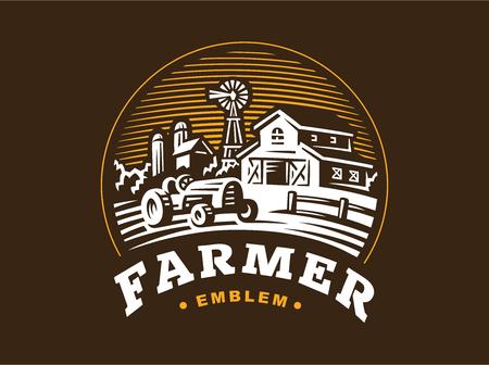 Illustration farm in vintage style on dark background Stock Illustratie