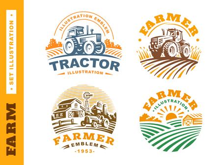 Set Illustration farm in vintage style on white background