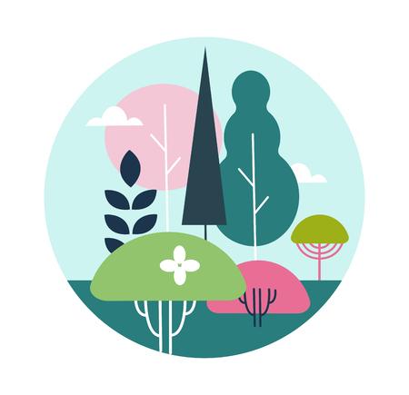 fertilizing: illustration landscape design on a white background