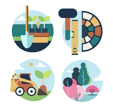fertilizing: Icons set landscape design on a white background
