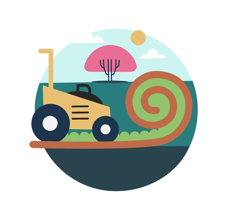 grass plot: Lawn mowing icon illustration on a white background