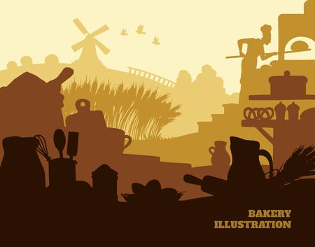 rolling bag: Bakery illustration background, colored silhouettes elements, flat design Illustration