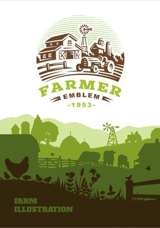 farmstead: Farm illustration background, colored silhouettes elements, flat design Illustration