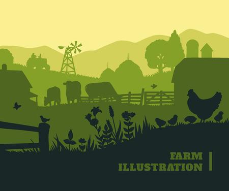 Farm illustration background, colored silhouettes elements, flat design Vectores