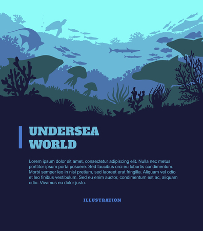 Undersea world illustration background, colored silhouettes elements, flat design