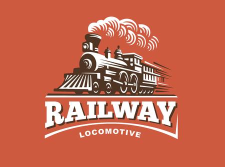 Lokomotive Illustration, Vintage-Stil Emblem Design Vektorgrafik
