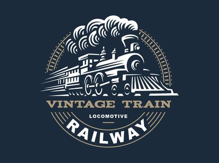 locomotora: ilustración locomotora, emblema de diseño de estilo vintage