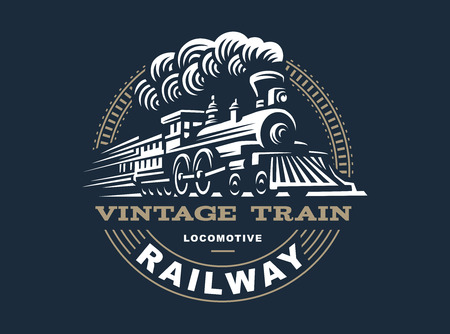 Locomotive illustration, vintage style emblem design