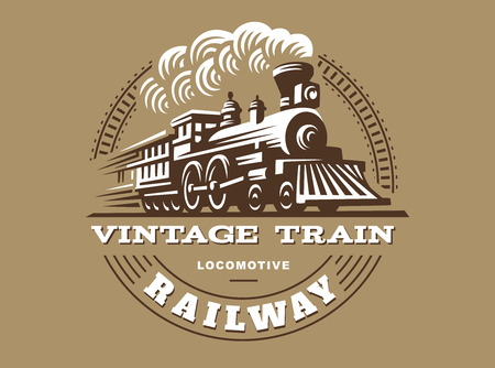 機関車イラスト、ビンテージ スタイルのエンブレム デザイン