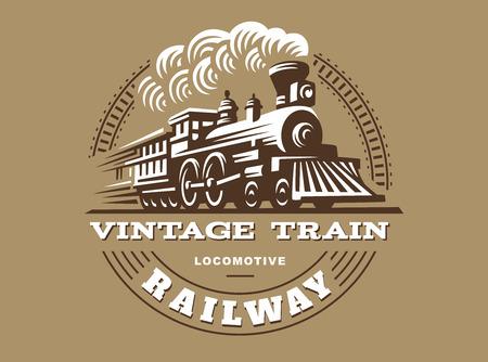 illustration Locomotive, la conception de l'emblème de style vintage