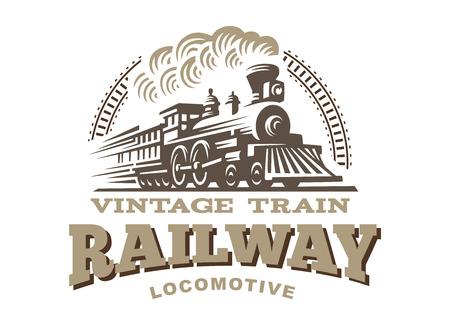 Locomotive illustration, vintage style emblem design