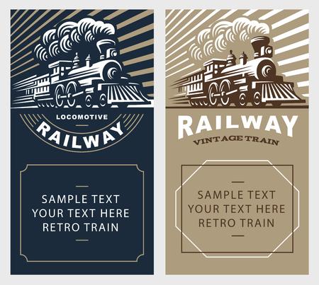 locomotora: Ilustración locomotora del cartel, diseño del emblema del estilo del vintage