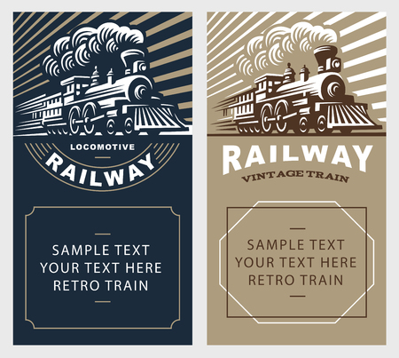Locomotive poster illustration, vintage style emblem design