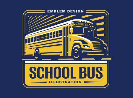School bus illustration on light background, emblem design