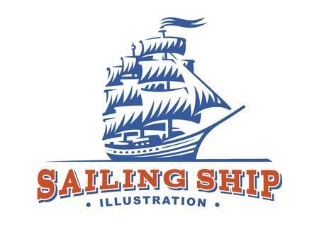 Sailing ship illustration on light background