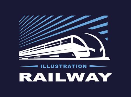 Train illustration on dark background, emblem design