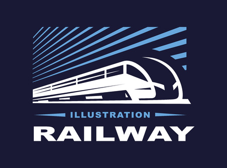Train illustration on dark background, emblem design