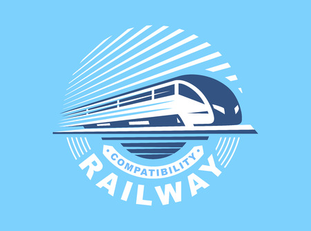 Train illustration on blue background, round emblem