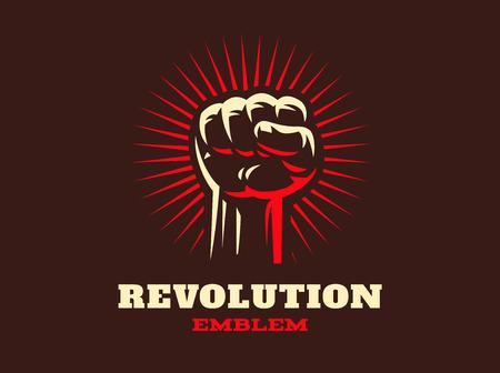revolt: Revolution hend up emblem design illustration on dark background