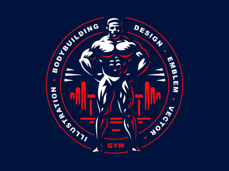 signo pesos: Bodybuilder emblem design illustration on dark background Vectores
